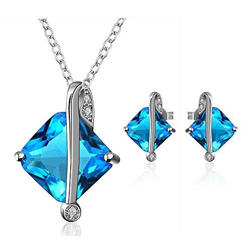nykkola Fashion Jewelry Classic Boucles d'oreilles Swarovski Element Cristal Bleu Plaqué Platine Collier Bijoux Ensembles