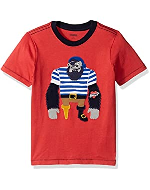 Baby Toddler Boys' Red Gorilla Captain Tee