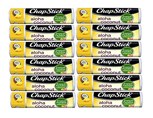 Chapstick Limited Edition Tropical Paradise Collection Aloha Coconut Flavored Skin Protectant Lip Balm Tube - Great for Moisturizing & Hydrating Chapped, Cracked, Dry Lips - 0.15oz Each, 12 ()
