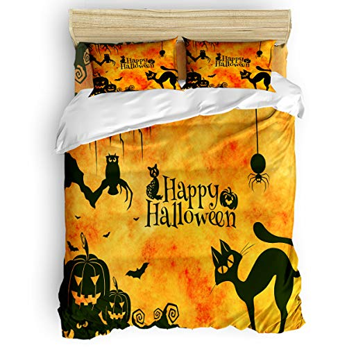 4pcs Duvet Cover Set Lightweight Polyester - Halloween The Evil Spirit -Well Designed Pattern Comfortable, Breathable, Soft & Extremely Durable ()