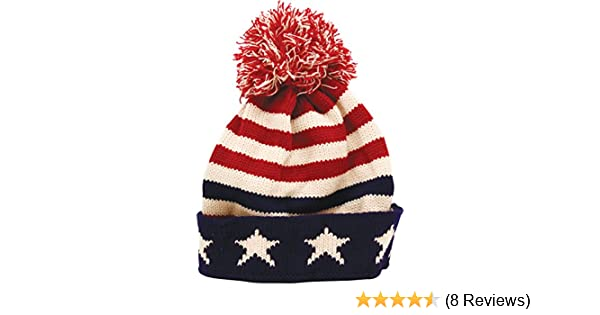 b8f4e4681ca True Gear North Patriotic Pom Beanie USA Flag Colors at Amazon Men s  Clothing store