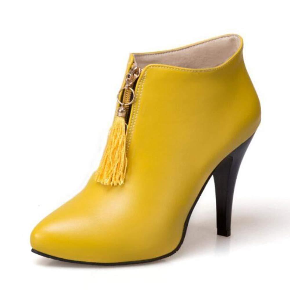 CITW Damenstiefel Spitzen Hochhackige Stiefel Nackte Stiefel Martin Stiefel Große Damenstiefel Warme Stiefel,Gelb,UK4 EUR38
