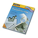 APOLLO PP100C Plain Paper Transparency Film for Laser Devices, Letter, Clear, 100/Box