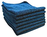 Micro Detailers 24 PREMIUM Grade Plush Microfiber Cleaning Cloth by 16''x16'' - Highly Absorbent Auto Detailing Towels (Navy Blue)