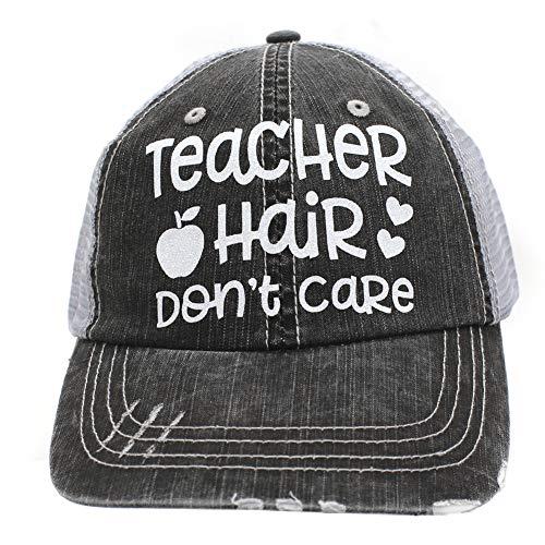 (IGYS Teacher Hair Don't Care Trucker Style HatWomen's Caps Black)