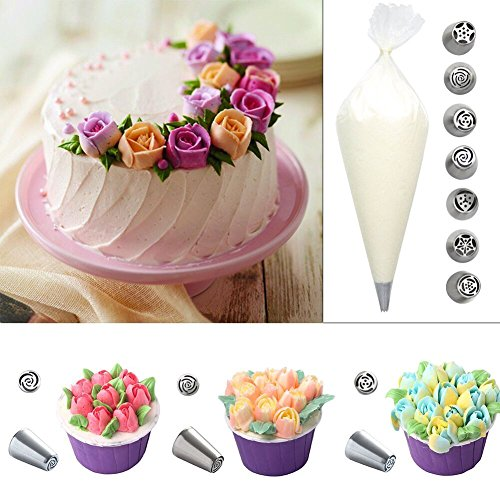 MULGORE Russian Piping Icing Piping Stainless Steel Large 7PCS Cake Piping Nozzles Icing Coupler Stainless Rose (Pipers Piping Costume)