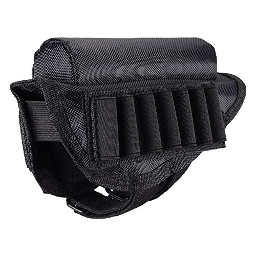 Adjustable Tactical Buttstock Shell Holder, Rifle Cheek Rest Pouch, Shotgun Ammo Carrier Case by BOOSTEADY