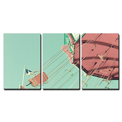 """Wall26 - 3 Piece Canvas Wall Art - Vintage Pastel Swing Chairs - Modern Home Decor Stretched and Framed Ready to Hang - 16""""x24""""x3 Panels"""