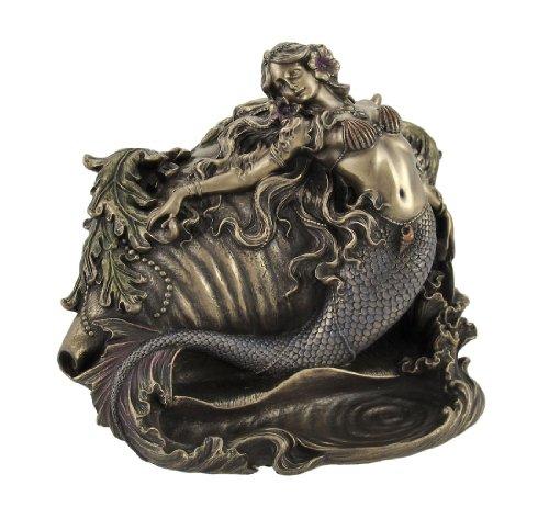 Gorgeous Bronzed Mermaid and Conch Trinket Box