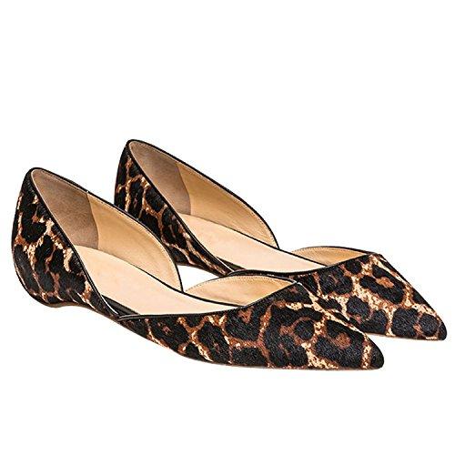 Arc-en-ciel zapatos de mujer en punta de gamuza plana leopardo Leopard