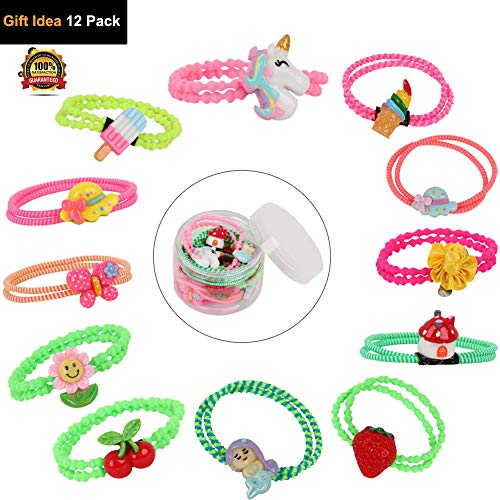 Clasp Animal - 12Pack Assorted Cute Elastic Hair Ties Neon Ponytail Holder Cartoon Rubber Bands with Animal Fruit Unicorn Strong Stretch Clasp-free No metal for Girls Teens Birthday Party Dancing Gift