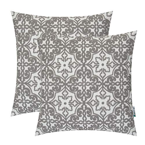 HWY 50 Grey Embroidered Decorative Throw Pillows Covers Set Cushion Cases for Couch Sofa Living Room Gray Modern Floral Geometric 18x18 inch Pack of 2