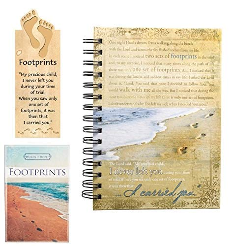Wire Art Bookmarks - Christian Art Gifts - Gift Set of Footprints in The Sand Journal, Words of Hope and Magnetic Bookmark