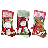 GZDDG Burlap Banners Merry Christmas Stockings 3 PCS 18'' Tall Santa Snowman Deer Xmas Fireplace Decoration