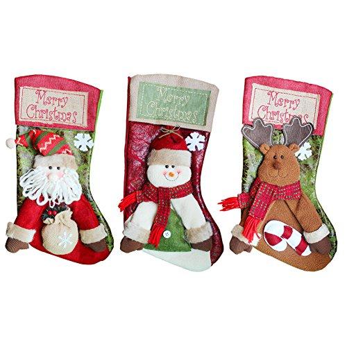 GZDDG Burlap Banners Merry Christmas Stockings 3 PCS 18'' Tall Santa Snowman Deer Xmas Fireplace Decoration by GZDDG