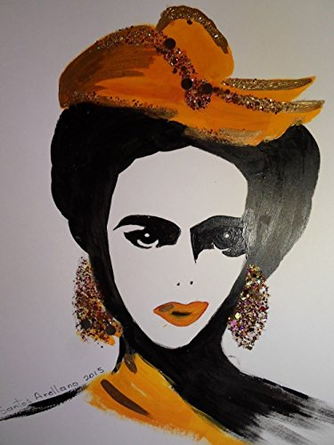 FRIDA KAHLO - Orange BOW - Abstract - POP - MEXICAN FOLK ART Style :: ORIGINAL PAINTING - Acrylics and Ink - Modern Painting on Heavy White Paper - SIZE:11''x8.5'' - Signed by the Artist by Santos Arellano - Art & Crafts