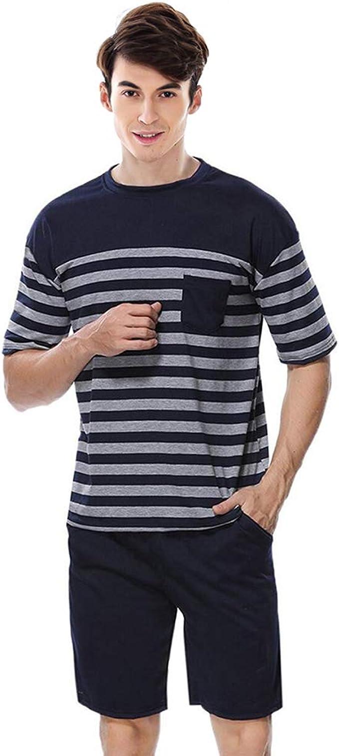 QianXiu - Pijamas de manga corta para hombre, ropa de dormir cómoda y a rayas Azul azul L: Amazon.es: Ropa y accesorios