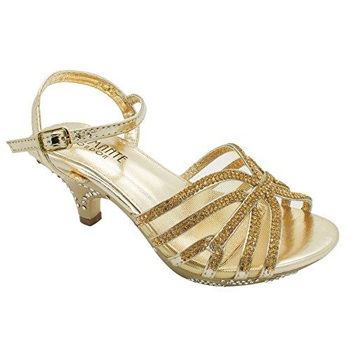 London Footwear Kirstin - Sandalias de tacón bajo para chica dorado