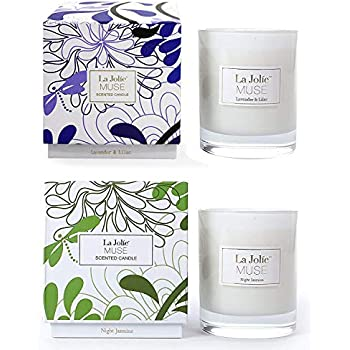 LA JOLIE MUSE Soy Scented Candle Set, Aromatherapy Christmas Candles Gift, Lavender & Jasmine, 8.1 OZ Each