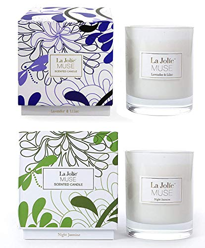 LA JOLIE MUSE Lavender Lilac&Jasmine Scented Candles Aromatherapy Soy Wax, 2 Pack 8.1 oz Each, Gift Candles Home - Candle Floral Scented