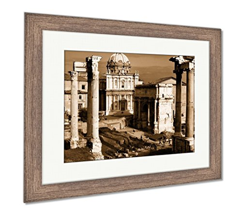 Ashley Framed Prints Vintage Postcard With Foro Romano, Wall Art Home Decoration, Sepia, 30x35 (frame size), Rustic Barn Wood Frame, (Free Rome Postcard)
