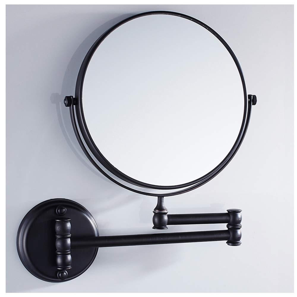 Velimax 8-inch Solid Brass Bathroom Vanity Mirror Folding Wall Mounted Folding Makeup Double Side Magnification Mirror Antique Style, Matte Black Finish
