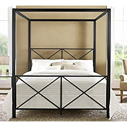 DHP Rosedale Metal Canopy Bed, Queen Size - Black