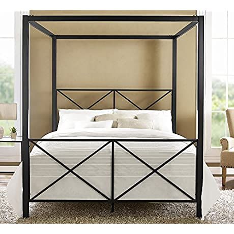 DHP Rosedale Metal Canopy Bed Queen Size Black