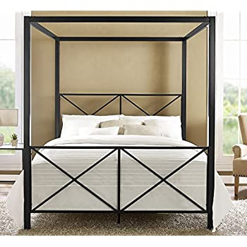 dhp rosedale metal canopy bed black queen - Iron Canopy Bed Frame