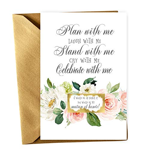 (Graceful Floral Be My Bridesmaid Scratch Off Cards with Gold Envelopes Set of 8 Proposals (2 Maid of Honor + 2 Matron of Honor + 4 Bridesmaid Proposal Invites) Asking)