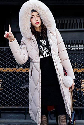 Piumini Hot Beige Stlie Colore Slim Accogliente E Outerwear Con Donna Puro Invernale Lunghe Addensare Cappuccio Piumino Moda Grazioso Sciolto Fit Invernali Trench Sezioni Giacca Parka Vento wH41SqY