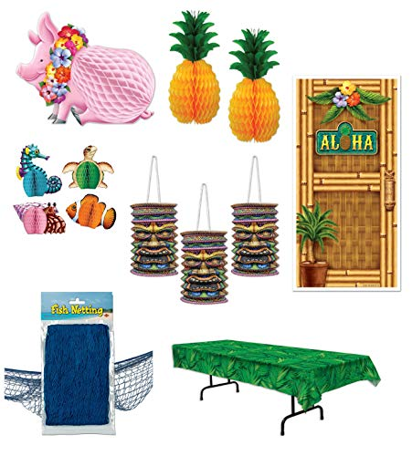 Beistle 7 Piece Bundle of Tropical Hawaiian Luau Beach Themed Party Decor