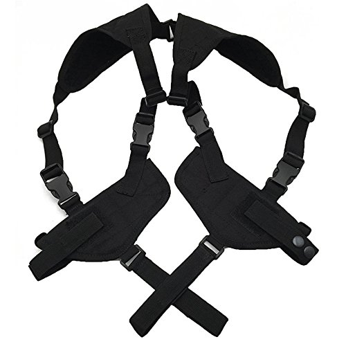 4-FQ Universal Horizontal Shoulder Holster Airsoft / Pistol Gun Double Shoulder Holster(Black) (Tomb Raider Fancy Dress)