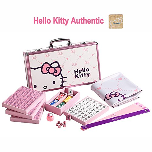 Hello Kitty Sanrio ハローキティ 144 Tiles Playing Mat 4 Pushers Pink Aluminum Complete Mahjong Set (Mahjong Set Taiwanese)