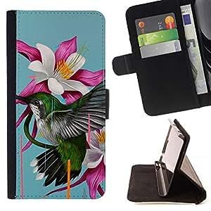 GIFT CHOICE / Billetera de cuero Estuche protector Cáscara Funda Caja de la carpeta Cubierta Caso / Wallet Case for Apple Iphone 5 / 5S // Lily Flower Hummingbird //