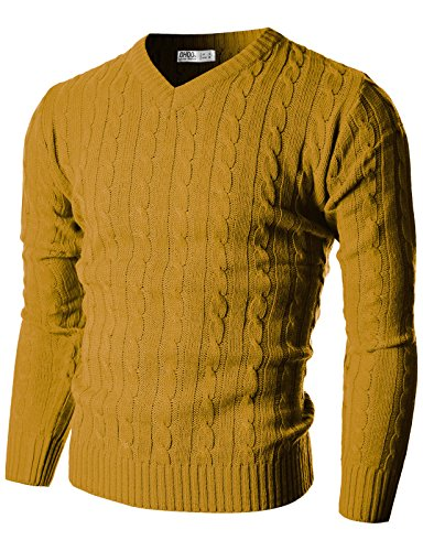 Ohoo Mens Slim Fit Cable Knit Long Sleeve VNeck Pullover Sweater/DCP025MUSTARDS