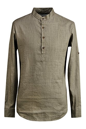 ByTheR Men's Solid Black Linen Classy Long Sleeve Roll-up Henley-Neck Shirts khaki L (Classy Outfits For Men)