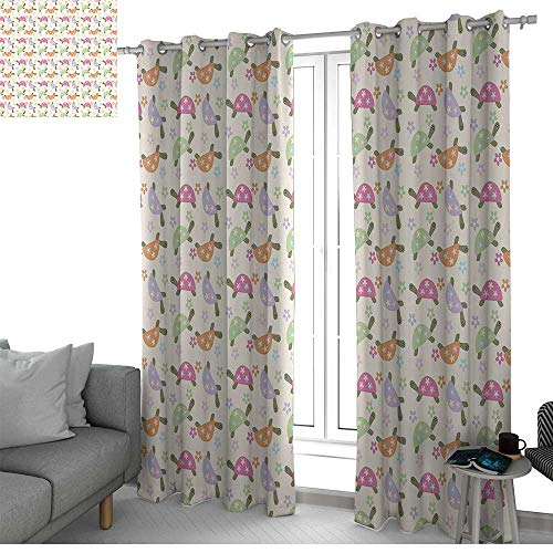 (NUOMANAN Curtains Kids,Children Cartoon Characters Floral Arrangement with Turtles Pattern Happy Animals,Multicolor,Treatments Thermal Insulated Light Blocking Drapes Back for Bedroom 84