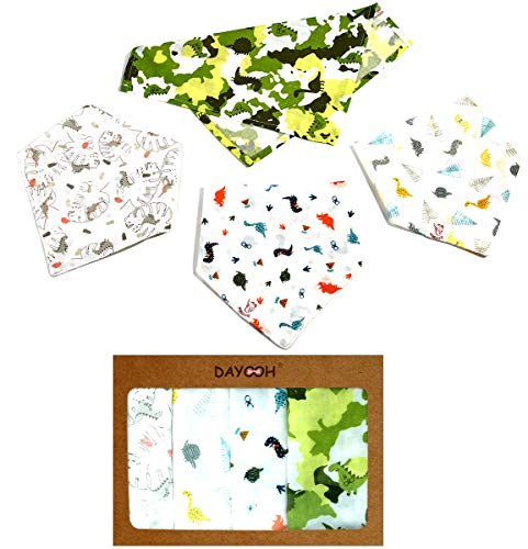 Baby Bandana Drool Bibs 4 Pack Shower Gift for Teething Boys or Girls Unisex, Muslin Absorbent Cotton Baby Bibs, Camouflage Dinosaur Green