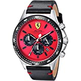 Scuderia Ferrari Men's 'PILOTA' Quartz Stainless Steel and Leather Casual Watch, Color:Black (Model: 0830387)