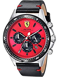 Ferrari Men's 'PILOTA' Quartz Stainless Steel and Leather Casual Watch, Color:Black (Model: 0830387)