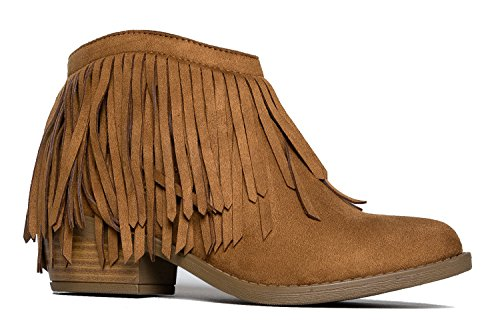 Soda Women's Jervis British Tan Faux Suede Double Fringe Moccasin Ankle Boots (8)