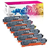 Inknu TN221(TN-221) 6-Pack Color Toner for Brother - 3xBlack, 1xCyan, 1xMagenta, 1xYellow OEM Quality High Capacity Cartridge - Easy Install Design
