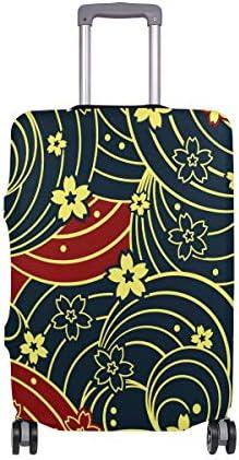 (ソレソレ)スーツケースカバー 防水 伸縮素材 キャリーカバー ラゲッジカバー 和風 和柄 花柄 桜柄 黒 レッド 可愛い 可愛い おしゃれ 防塵 旅行 出張 便利 S M L XLサイズ