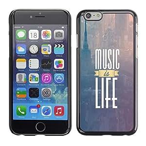 LASTONE PHONE CASE / Carcasa Funda Prima Delgada SLIM Casa Carcasa Funda Case Bandera Cover Armor Shell para Apple Iphone 6 / Music Is Life New York Text Purple Fog