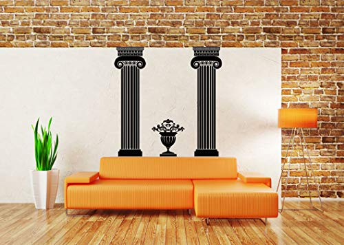 (Vinyl Sticker Columns Flower Urn Greek Vase Jar Jug Amphora Wine Emblem Ornament Ionic Architecture Mural Decal Wall Art Decor SA2285)