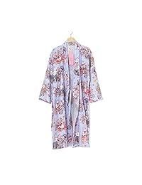 FANCY PUMPKIN Women's Kimono Robe Yukata Bathrobe Pajamas Purple Pray Rabbits