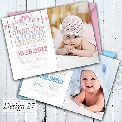 26. Design 26, 25 Birth Announcement Personalised Baby Thank You Cards Girl or Boy