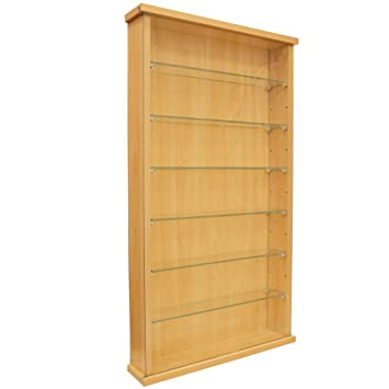 COLLECTORS   Wall Display Cabinet With Six Glass Shelves   Beech