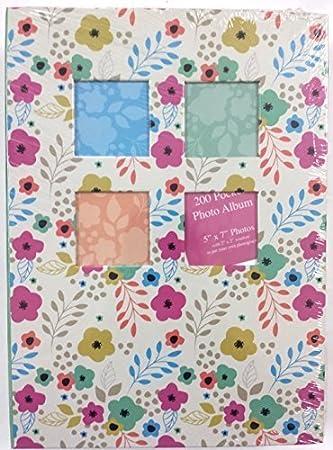 "Tallon 200 Pocket Colourful Butterfly Design 5/"" x 7/"" Photo Album 1131 white"